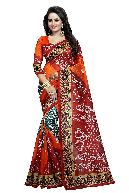 Shonaya. Women's Bandhani Bhaglpuri Art Silk Printed Saree Sari BANDHANI-16