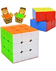 JOYIN Speed Cube 2 Pack Magic Cube 3x3 and 2x2 Cube, Easy Turning Stickerless Anti-Pop Structure and Durable for Professional Players and Easter Basket Stuffers