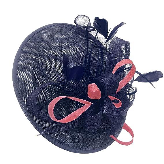 9e1538cb2e0de Caprilite Navy and Baby Pink Sinamay Big Disc Saucer Fascinator Hat ...