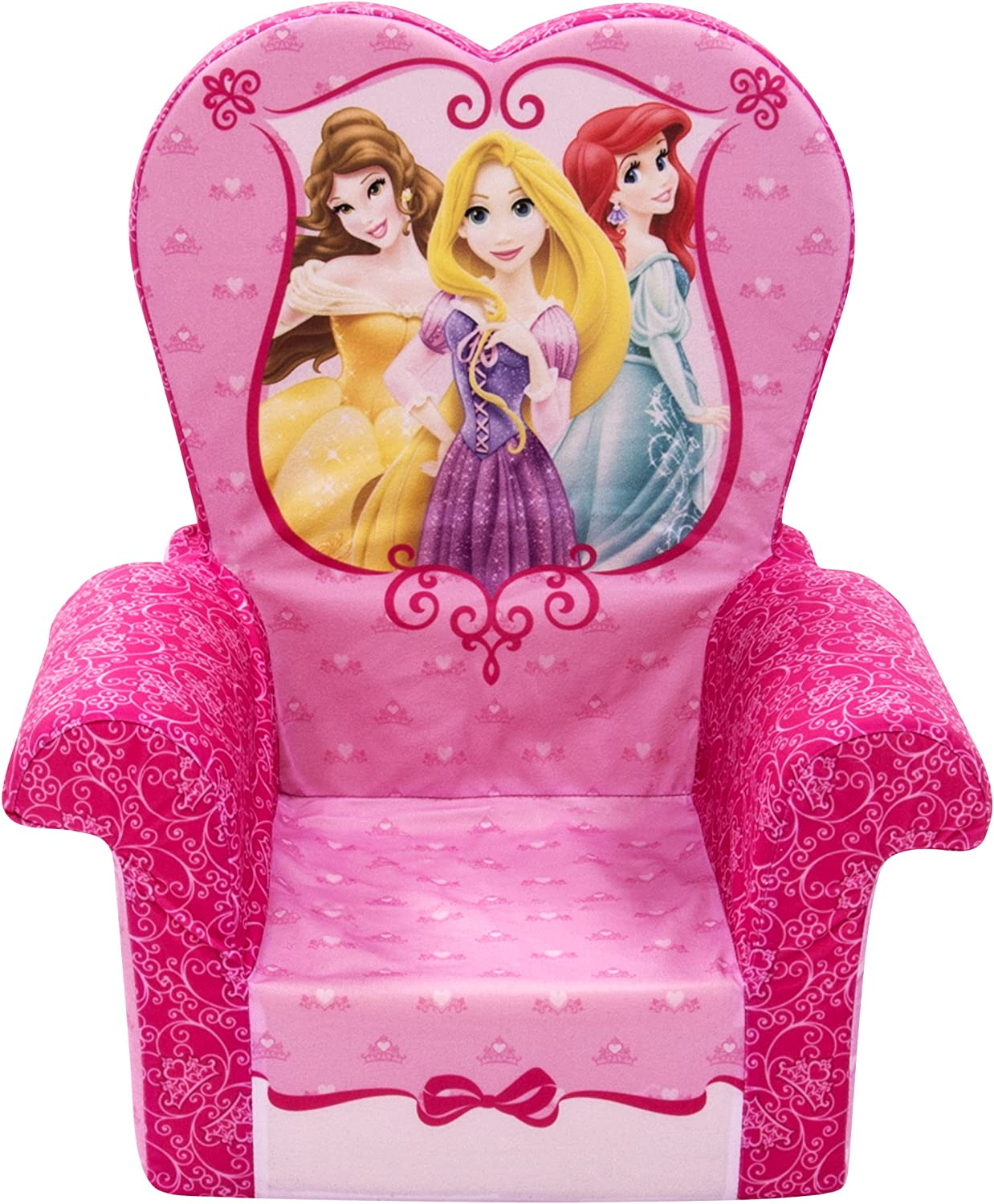 Marshmallow Furniture Comfy Foam Toddler Chair Kid's Furniture for Ages 2 Years Old and Up, Disney Princess Themed, Pink