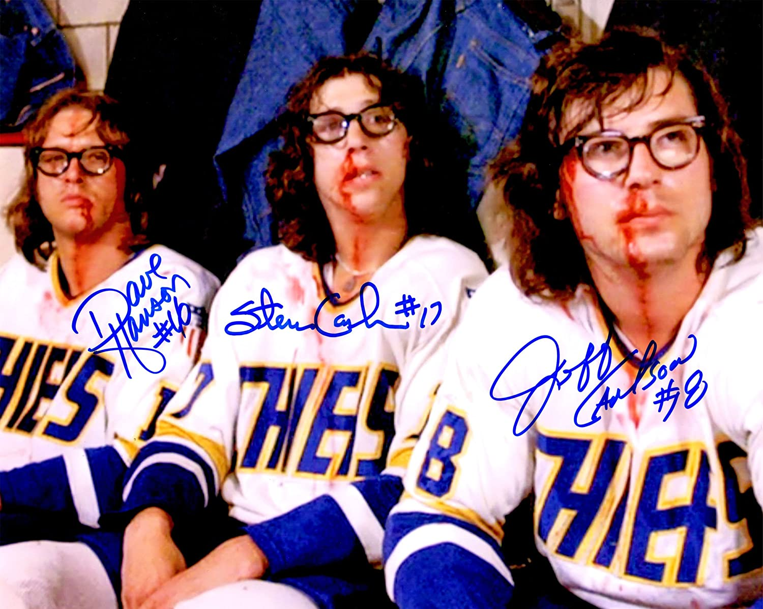 Hanson Brothers Signed Chiefs 'Slap Shot' Bloody Faces 8x10 Photo