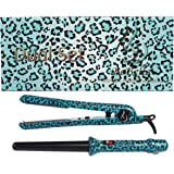 """Bebella Dual Gift Set with 18-25mm Professional Clipless Hair Curling Iron and Professional 1.25"""" 100% Ceramic Plates Hair Straightener Flat Iron"""