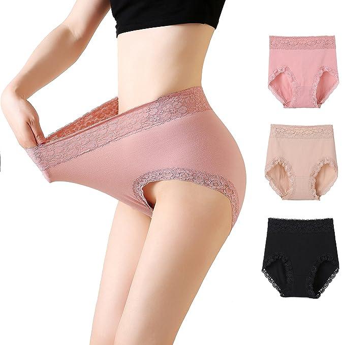 fa561517d67 MSJESSIE Women Lace Panties Sexy Lingerie Cotton Briefs Plus Size Waist  Underwear Pack of 3 (
