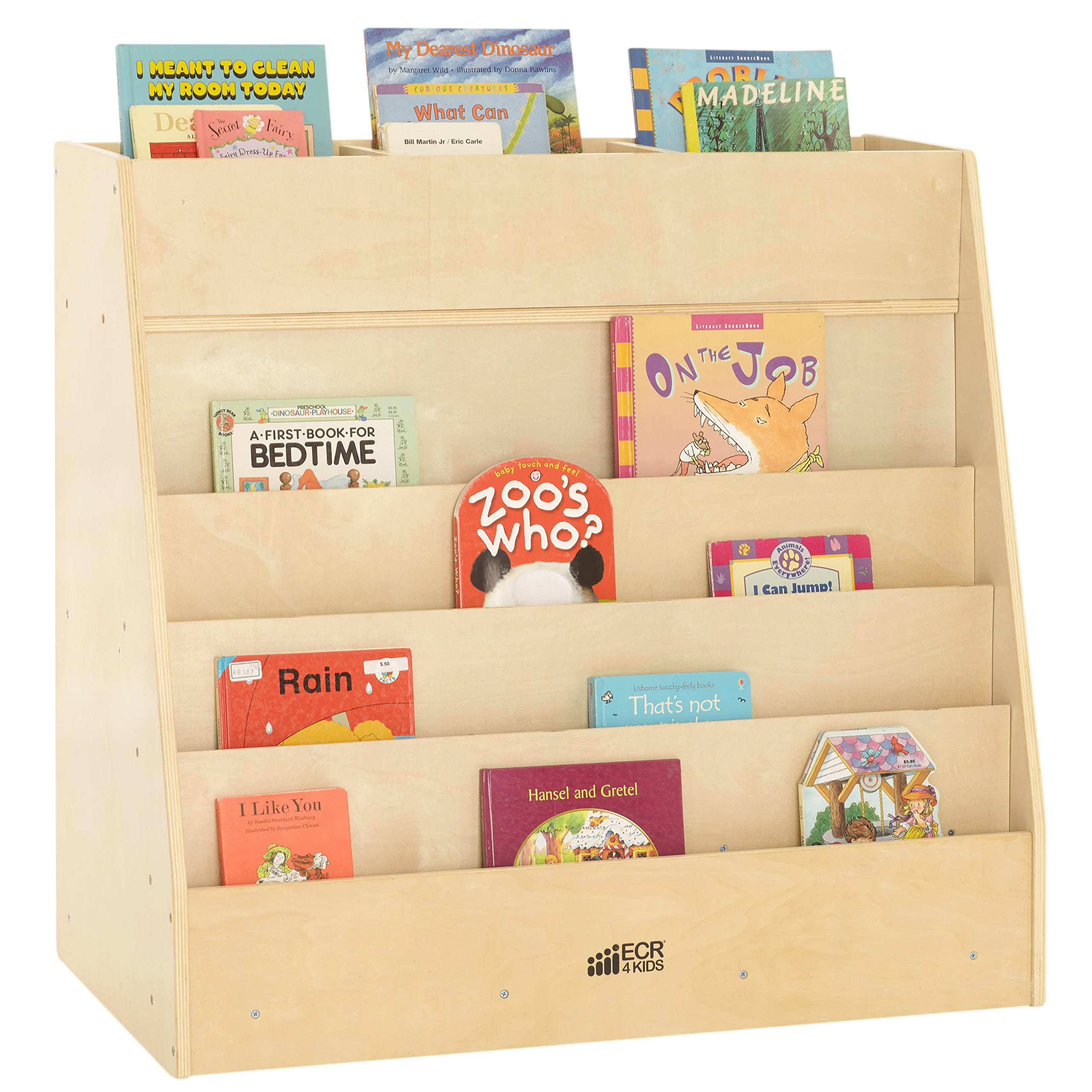 ECR4Kids Birch Hardwood Book Display on Front and Top with Storage, Natural