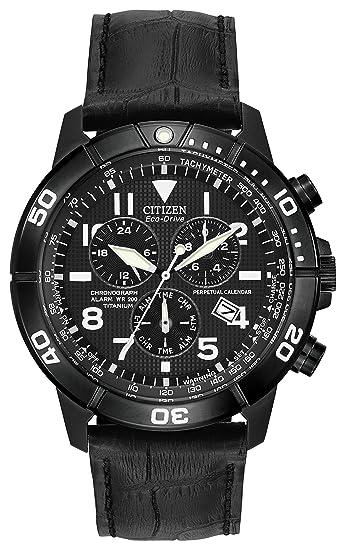 Citizen Reloj Calendario Perpetuo - Reloj de Cuarzo para Hombre con cronógrafo para Hombre (Mecanismo de Cuarzo, Esfera Negra y Correa de Cuero Negro BL5259 ...