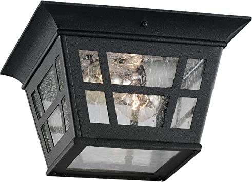 Sea Gull Lighting 78131 12 Herrington Cast Aluminum Outdoor Ceiling Lighting 30w Black 6 5x10 75x10 75 Ceiling Porch Lights Amazon Com