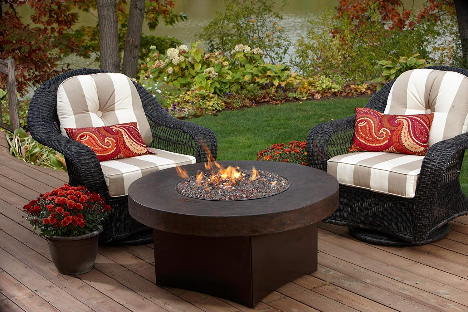 amazon com gas outdoor fire pit table oriflamme savanna 38