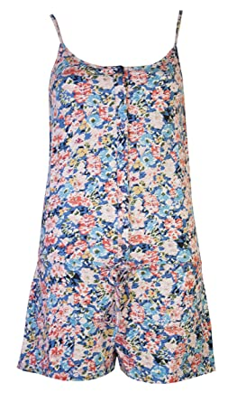 Womens Playsuits Shorts Ladies Floral Flower All In One Cotton ...