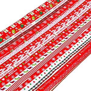 Konsait 20Pack Christmas Ribbons Trims Grosgrain Ribbons Decorative, Multicolor Christmas Festive Themed Ribbons for DIY Crafts Christmas Decor Winter Holiday Festival Season Xmas Gifts Wrapping
