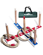 Elite Quoits and Garden Games for Kids - Fun Ring Toss Outdoor Games - Fun Toy for Boys - Compact Carry Bag Included.