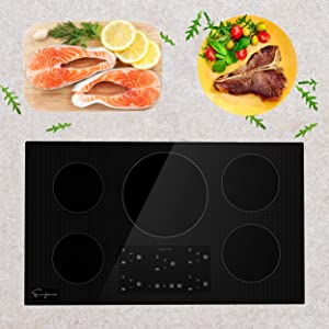 """Empava 36"""" Induction Cooktop Electric Stove W/ Black Vitro Ceramic Smooth Surface Glass EMPV-IDC36"""