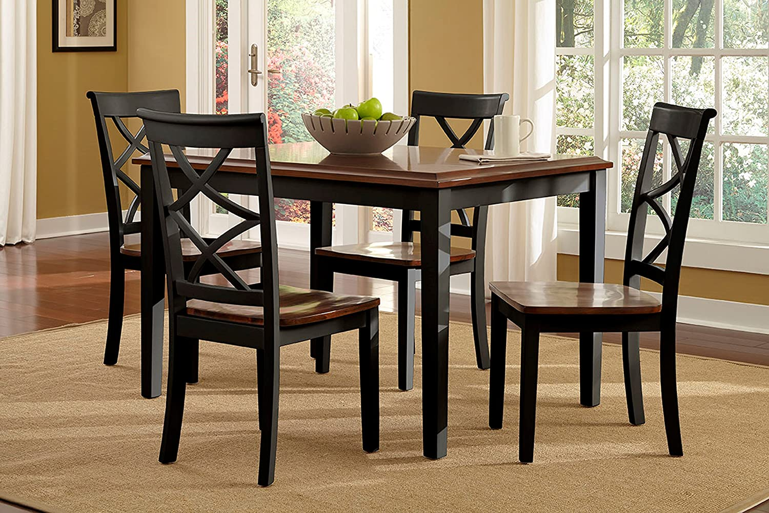 Amazon.com   Powell 14D2041BL 5 Piece Harrison Dining Set, Black/Cherry    Table U0026 Chair Sets