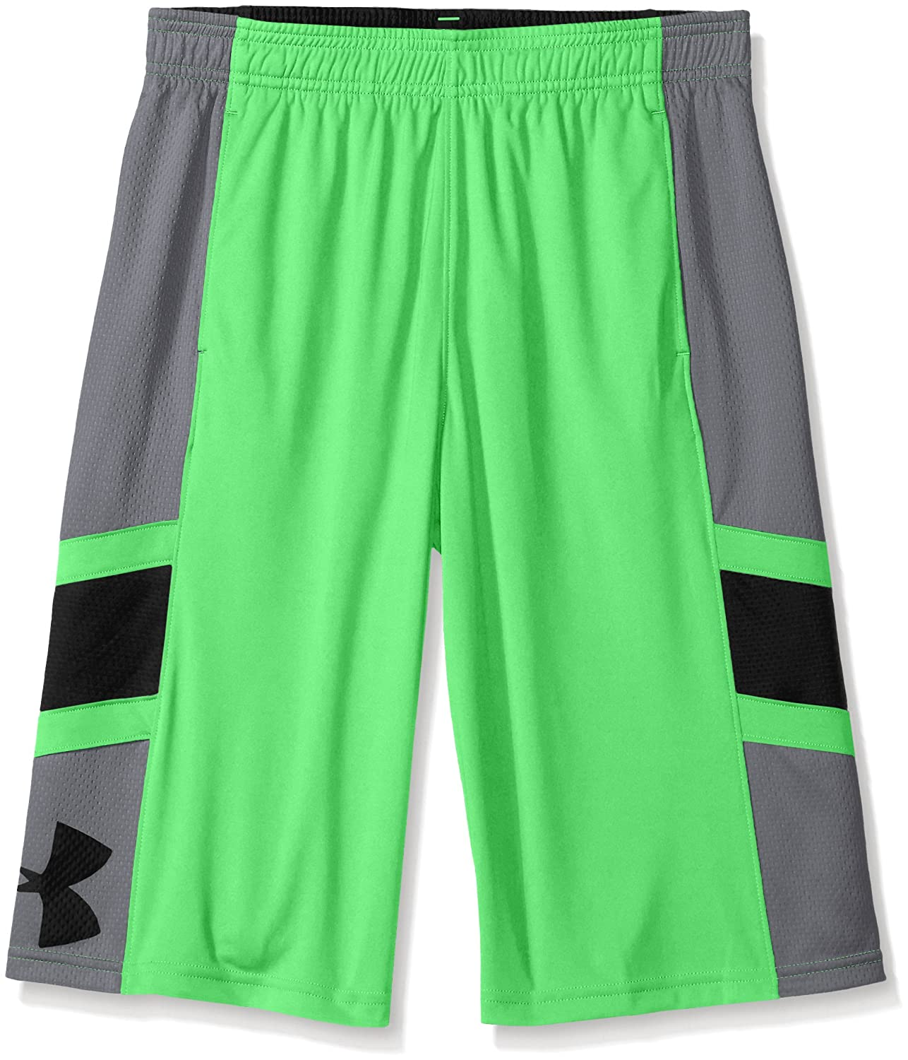 Under Armour Boys' Crossover Basketball Shorts, Laser Green (387)/Black, Youth X-Large Under Armour Apparel 1273446