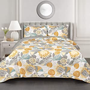 Lush Decor Yellow & Gray Layla Quilt Floral Leaf Print 3 Piece Reversible Bedding Set Full Queen