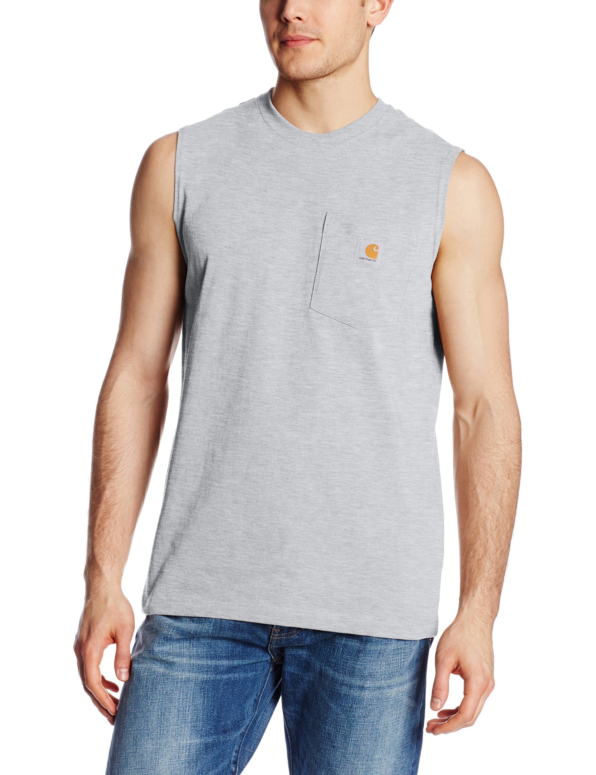 Carhartt Men's Workwear Pocket Sleeveless Midweight T-Shirt Relaxed Fit,Heather Gray,X-Large by Carhartt