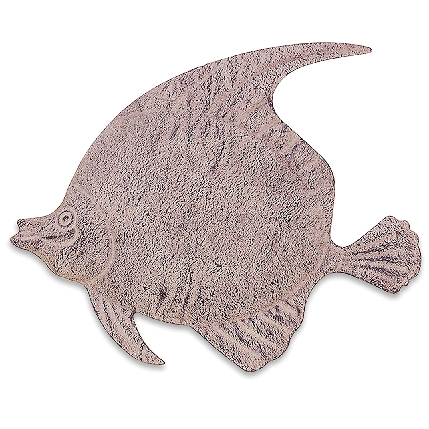 WHW Whole House Worlds Key West Tropical Fish, Hand Crafted Rustic Metal Wall Decor, Antiqued Finish Sand Color Paint, 11 3/4 Inches
