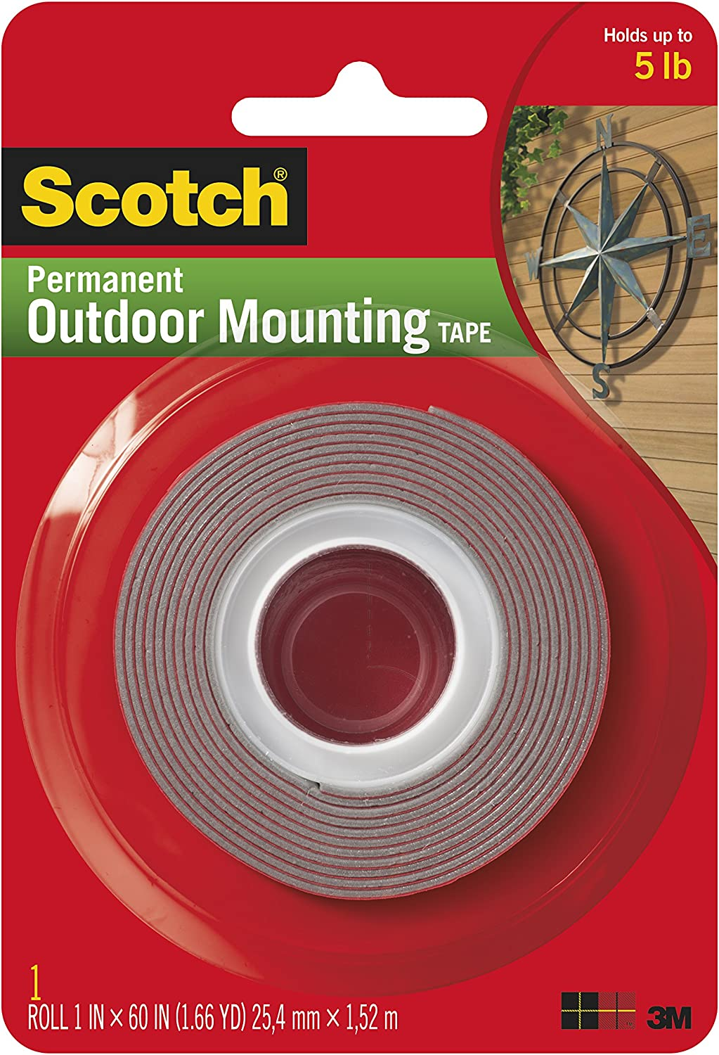 Heavy-Duty Exterior Mounting Tape, Holds 5 lb., 1 in x 60 in Roll: Home Improvement