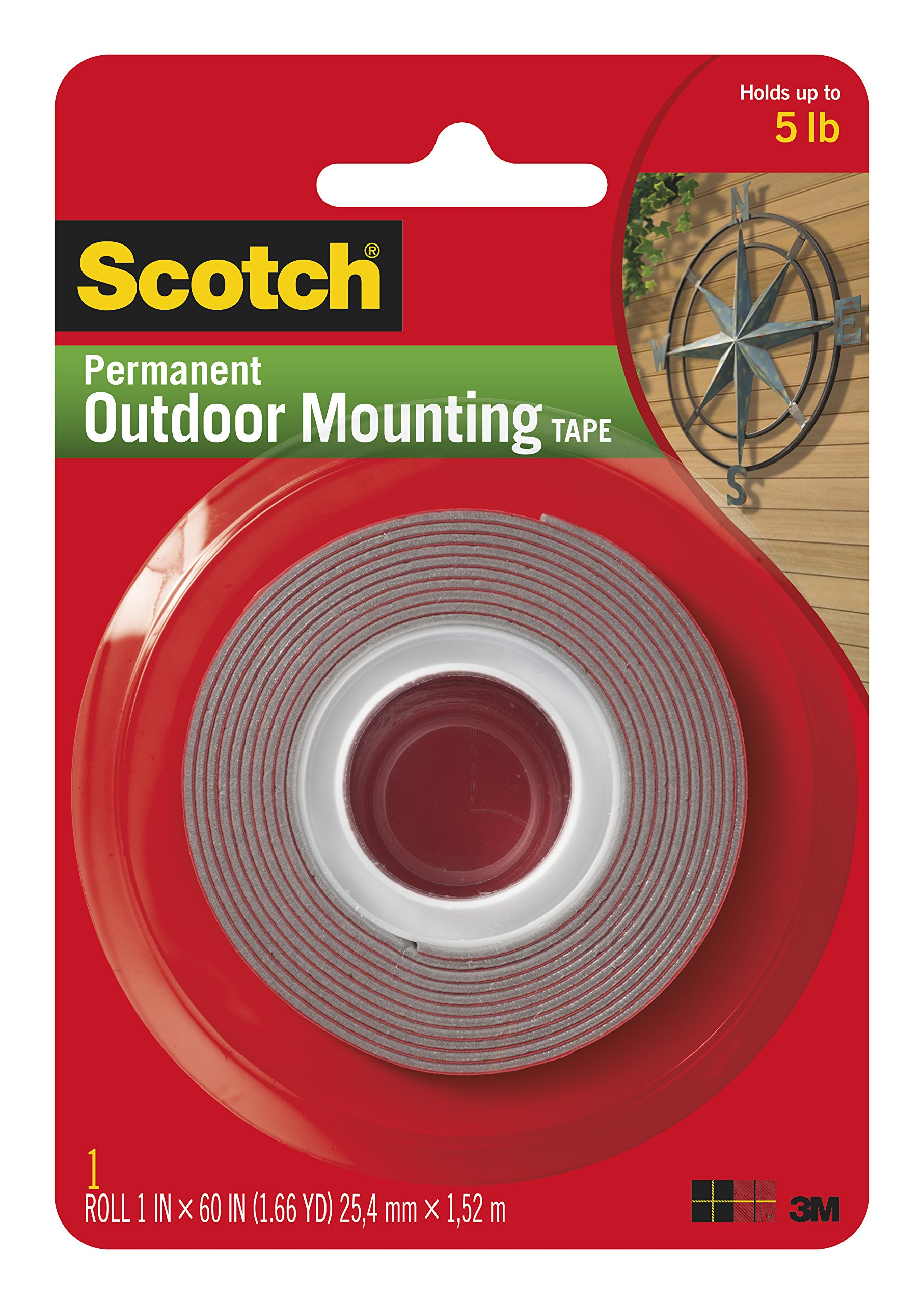 Heavy-Duty Exterior Mounting Tape, Holds 5