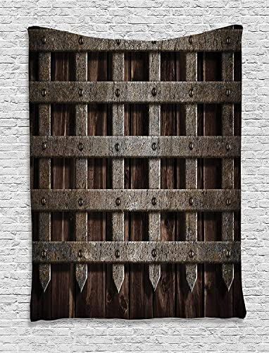 Ambesonne Medieval Tapestry, Medieval Wooden Castle Wall and Gate Greek Style Mid-Century Designed Artwork Print, Wall Hanging for Bedroom Living Room Dorm, 60 X 80 , Grey