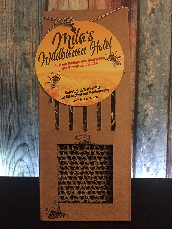 Made in Germany von Menschen mit Behinderung Milas Wildbienen Hotel Insektenhotel Bienenhotel Insektenwabe /ökologischem Karton nachhaltiger Forstwirtschaft