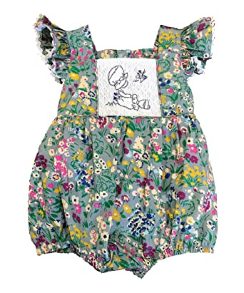 e357d29827a Amazon.com  Sassy Smock Gray Floral Smocked Girl s Bubble Romper ...