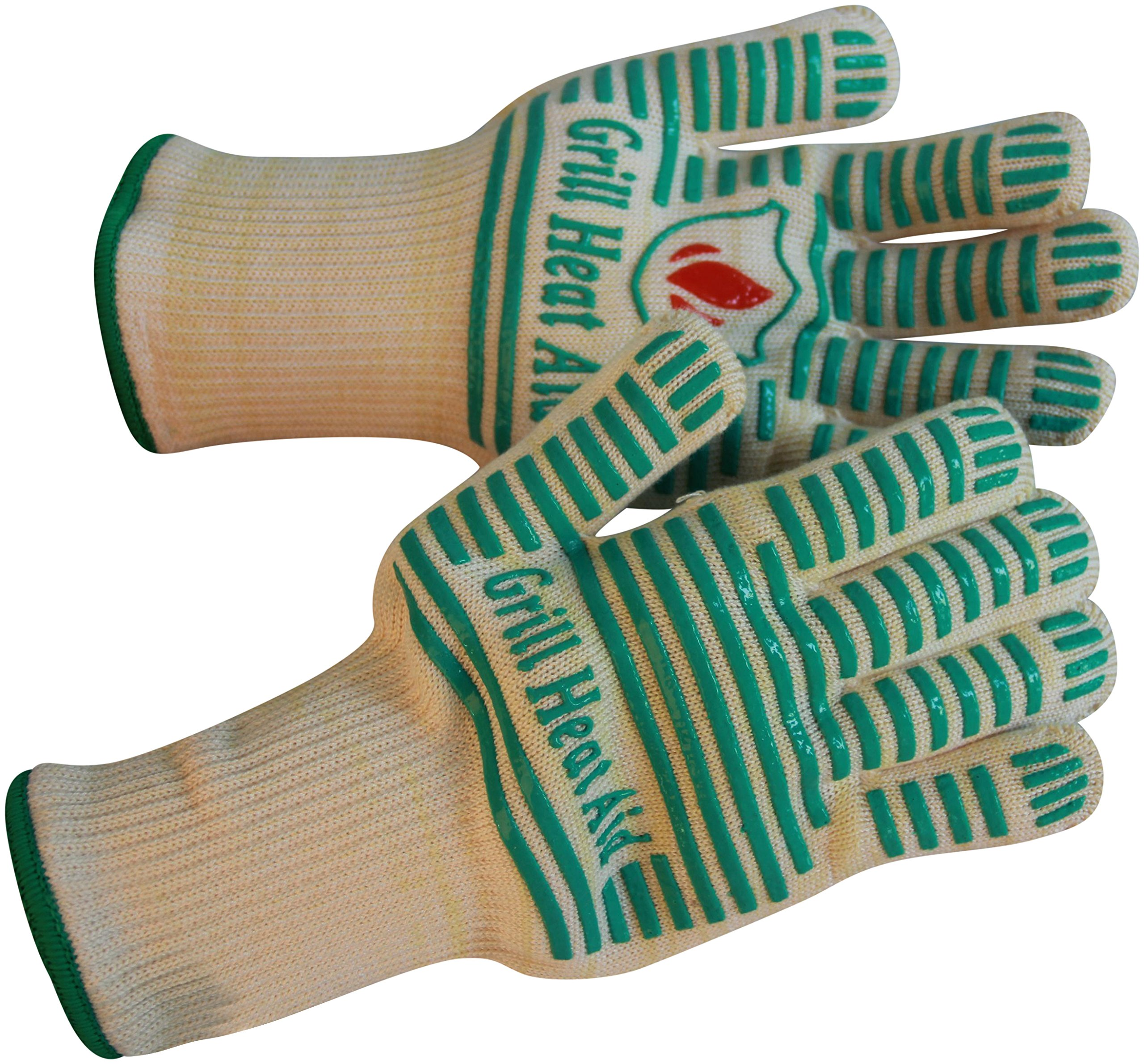 Grill Heat Aid Extreme 932°F Heat Resistant - Light-Weight, Flexible BBQ Gloves - 100% Cotton Lining For Super Comfort