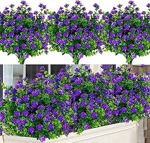 Dreamfun 20 Bundles Outdoor Artificial Flowers Plants Decoration - UV Resistant Plastic Flowers for Outside Faux Plants Fake Landscape Flowers Greenery Shrub Plants for Party Home Garden Decor(Purple)