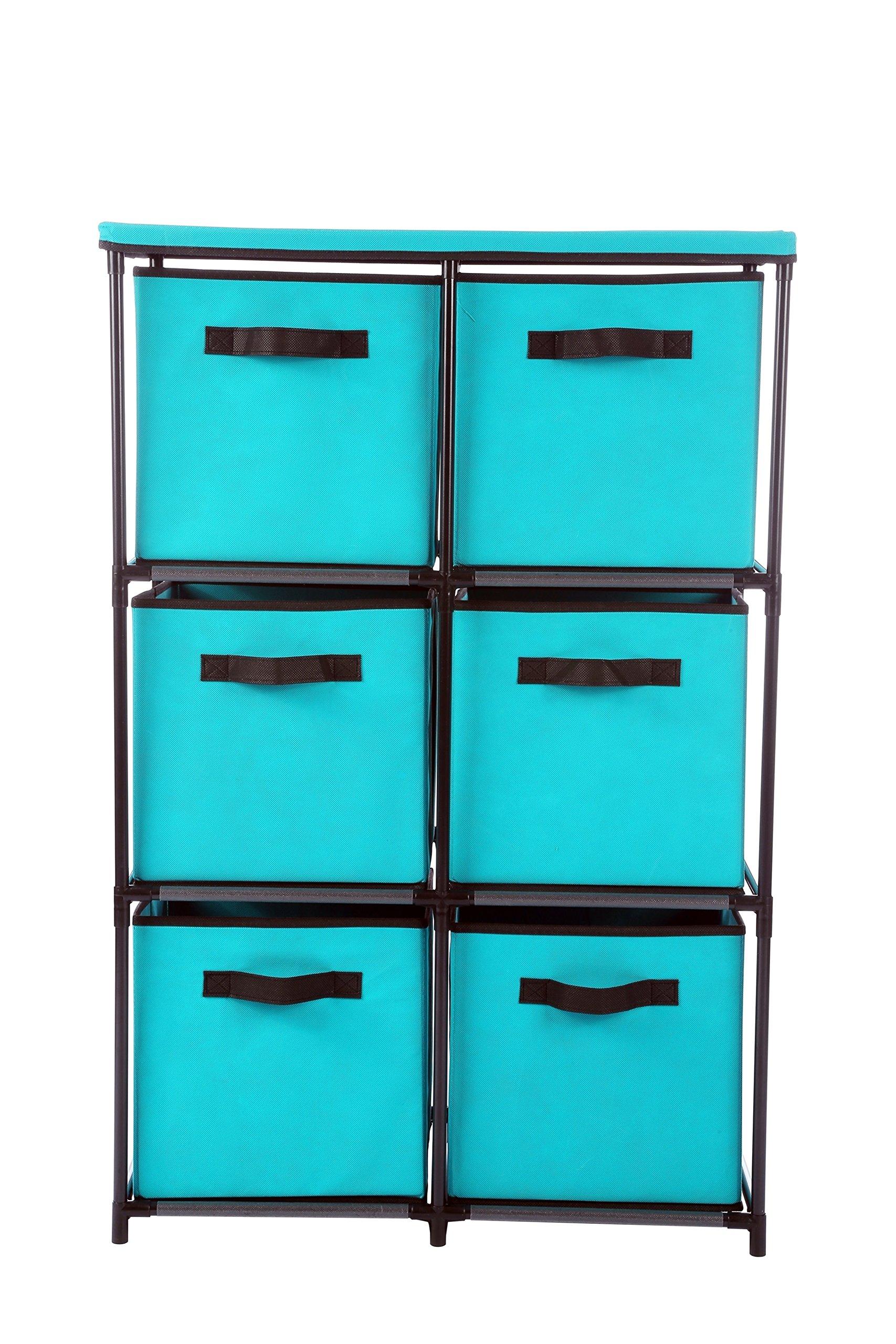 Homebi 6-Drawer Storage Chest Shelf Unit Storage Cabinet Multi-Bin Organizer with Removable Non-woven Fabric Bins in Turquoise,25''W x 13.2''D x38.0''H