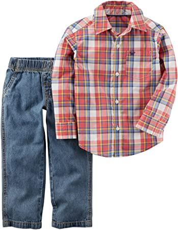Carter/'s Baby Boys 2 Piece Denim Overalls /& Top Set Blue//Red//Gray Size 12 Months
