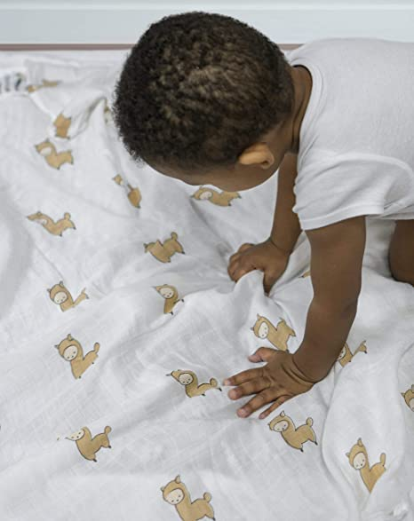 Alpy Baby Bamboo Muslin Swaddle Blankets - 47 inches x 47 inches - Silky Soft Set of 2 (Llamas and Stars)