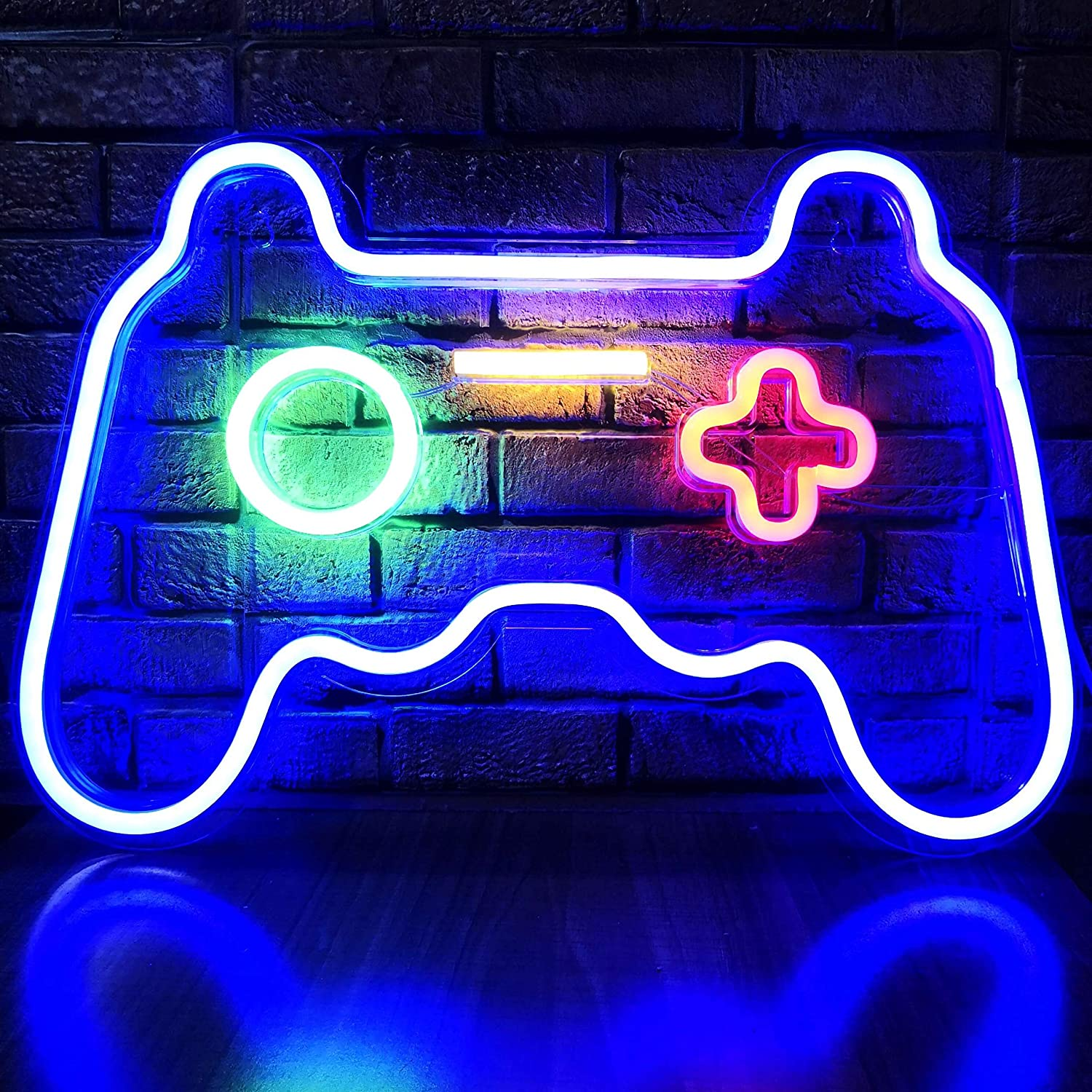 LED Game Neon Sign Gamepad Shape LED Sign Light Gamer Gift for Teen Boys Game Room Decor Bedroom Wall Gaming Wall Decoration Playstation Light Up Signs Accessories Video Game Wall Art