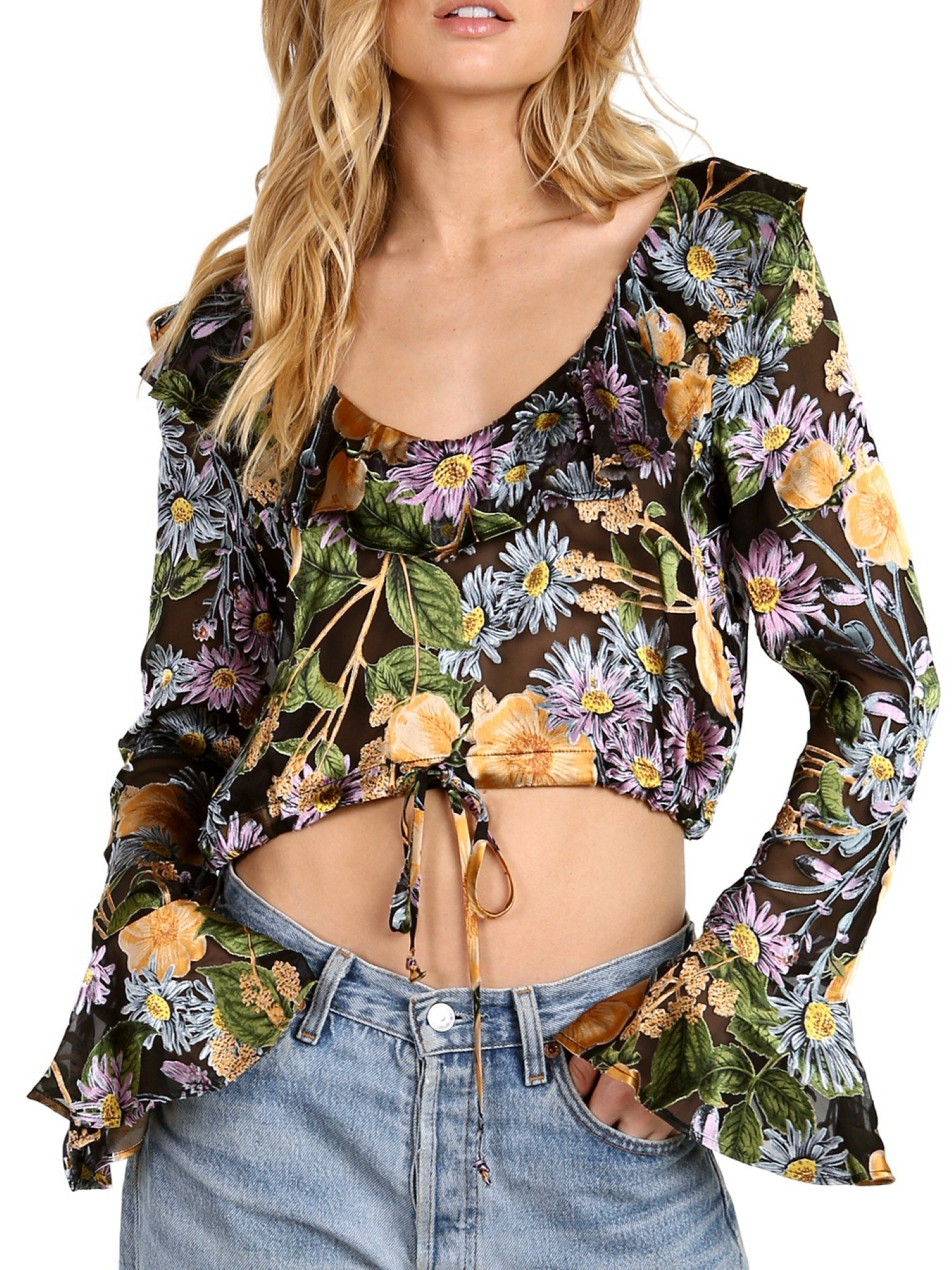 For Love and Lemons Women's Luciana Ruffle Blouse Black Floral Blouse