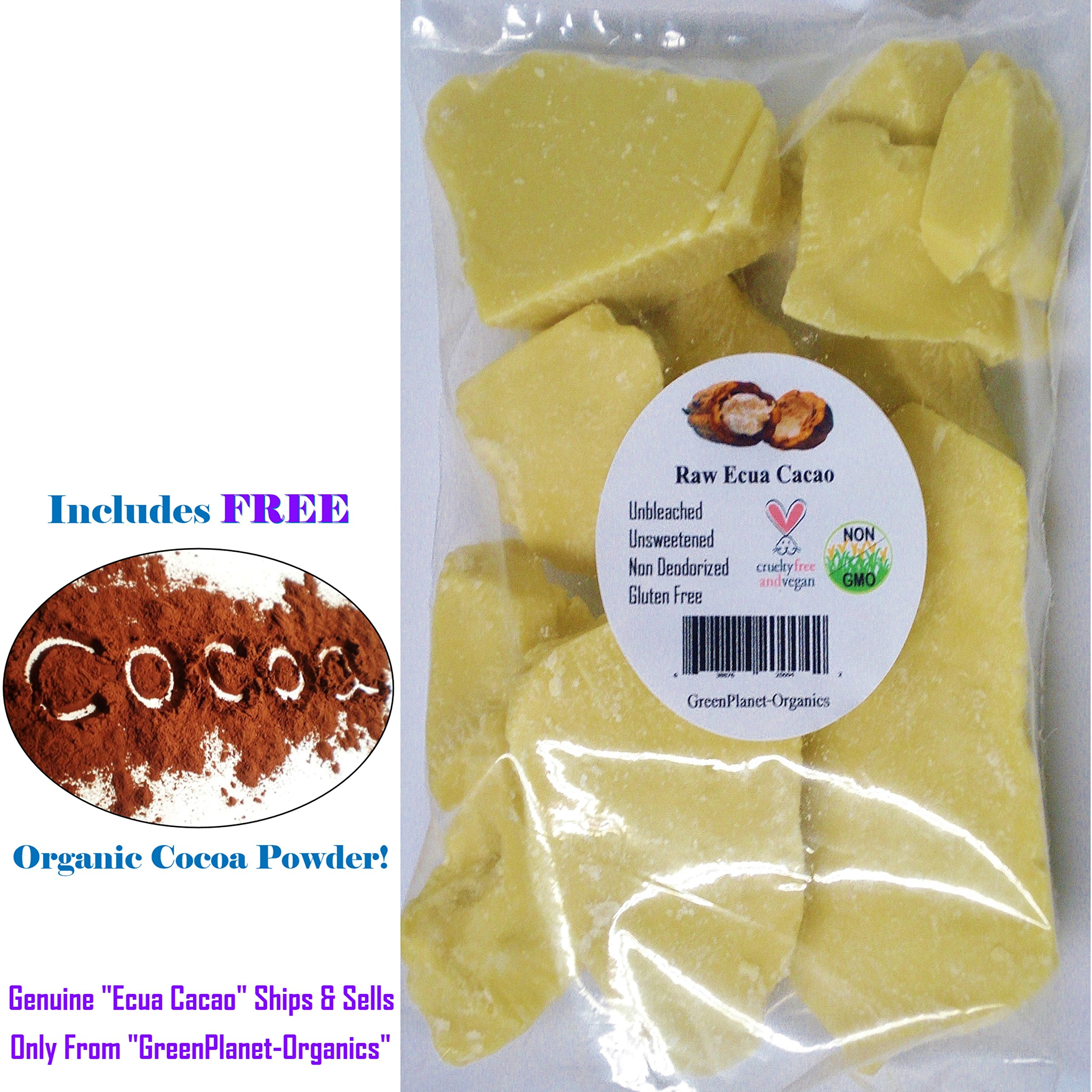 Truly Raw Ecua-Cacao Butter For Baking (Unrefined, Unbleached, Non-Deodorized) Grade-A (1 lb)
