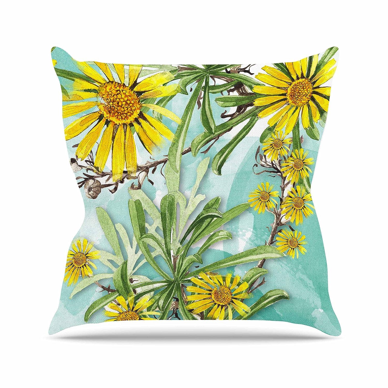 Kess InHouse Liz Perez Sunny Day Yellow Floral Throw Pillow 26 by 26