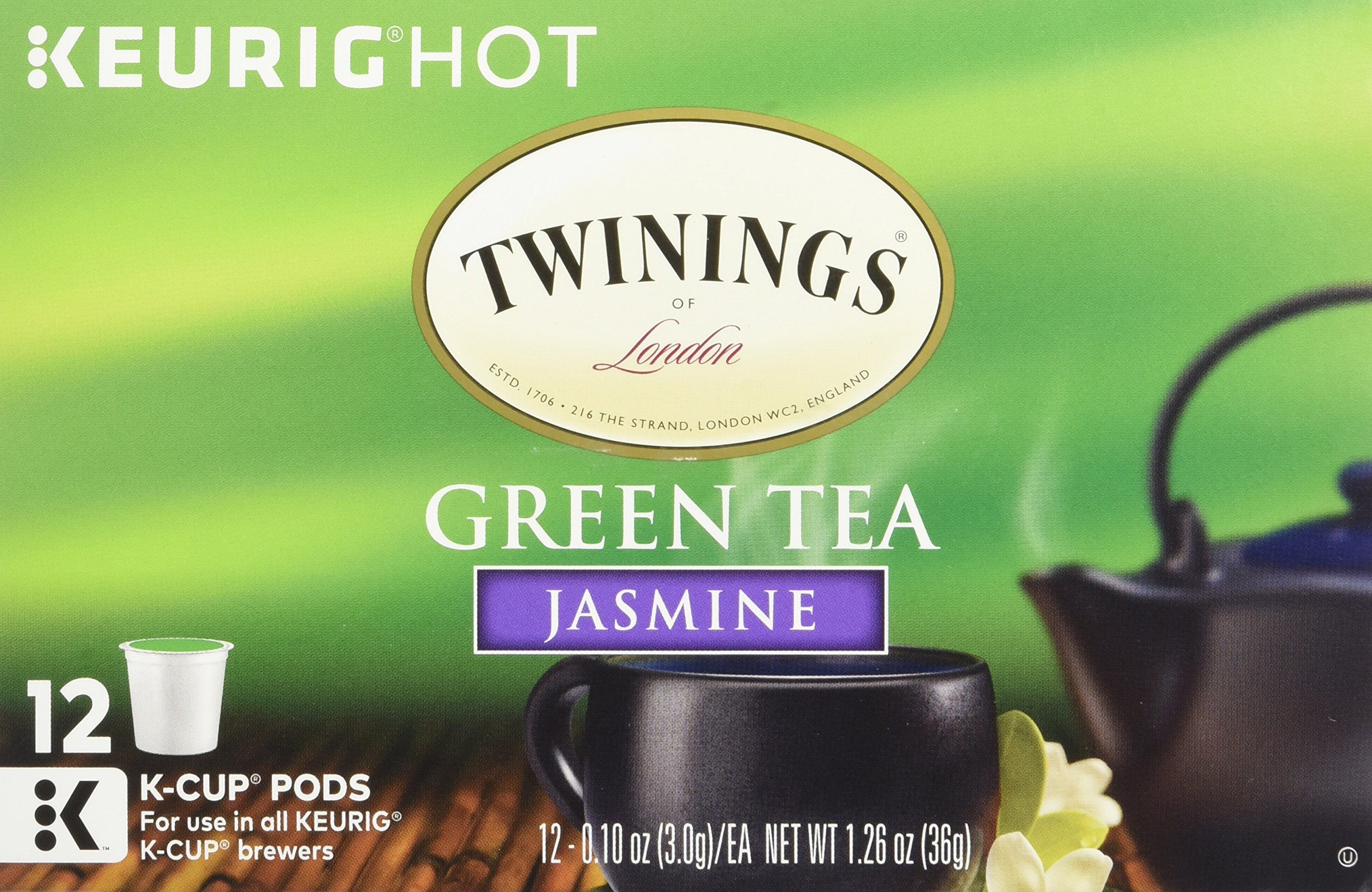 Twinings of London Jasmine Green K-Cups for Keurig, 12 Count (Pack of 6)