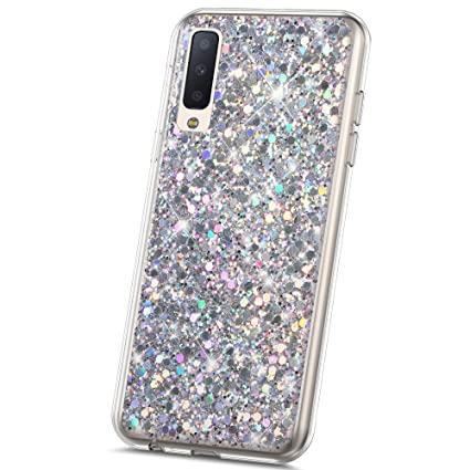 JAWSEU Funda Brillante Compatible con Samsung Galaxy A7 2018 Bling ...