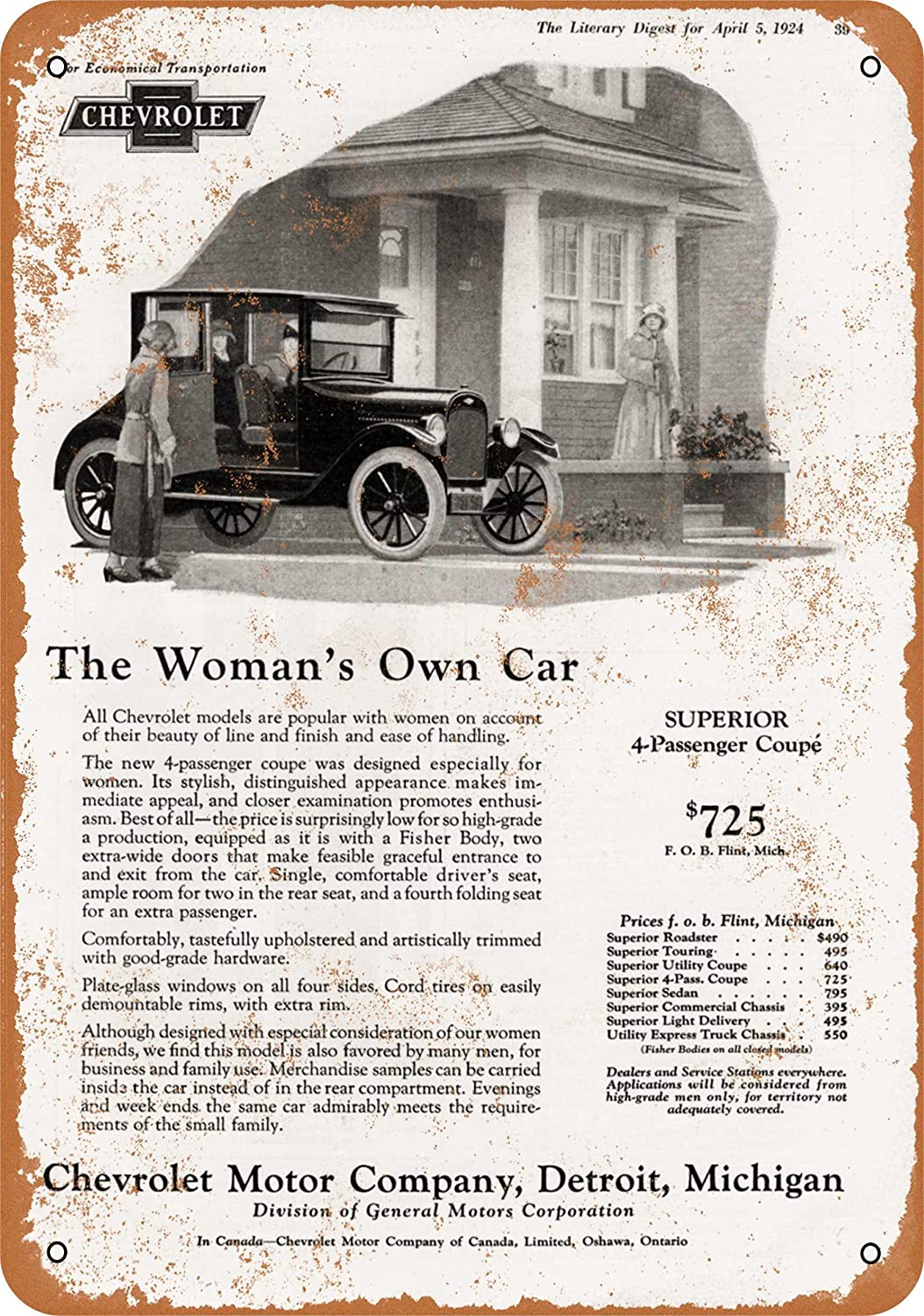 Amazon Com Wall Color 7 X 10 Metal Sign 1924 Chevy Get Your Wife A Car Vintage Look Home Kitchen