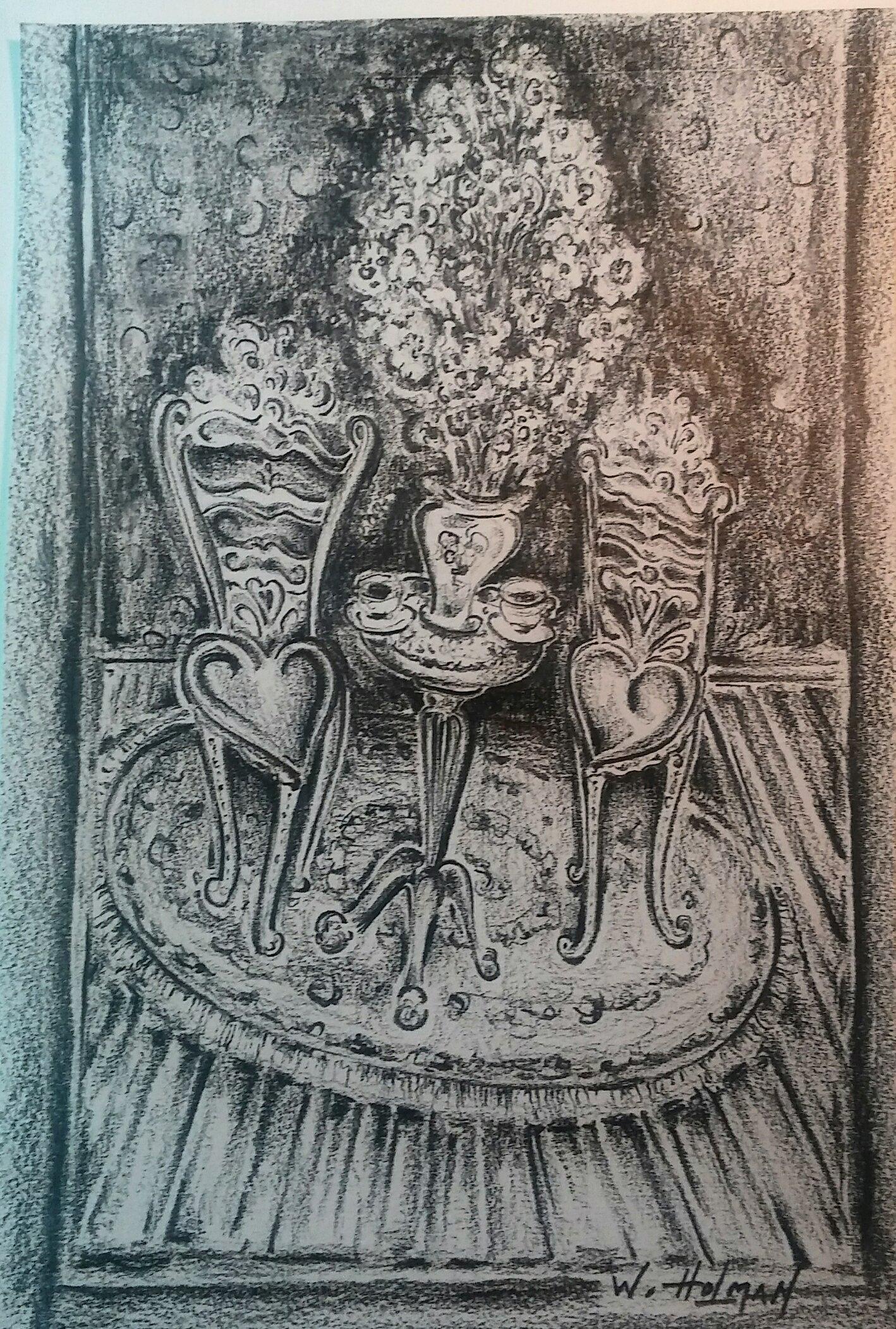 TEA FOR TWO ORIGINAL SKETCH BY ARTIST WILLIAM HOLMAN by ARTIST WILLIAM HOLMAN