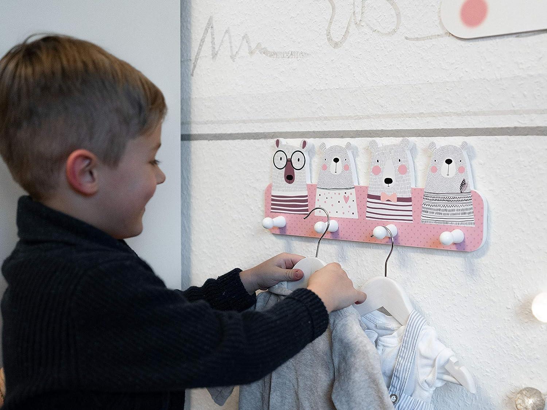 Wundersch/öne Deko f/ür jedes Kinderzimmer Kindsblick /® B/ären Kindergarderobe in Mintgr/ün Ma/ße Garderobe mit 4 Kleiderhaken f/ür Kinder 38 x 15 x 1 cm