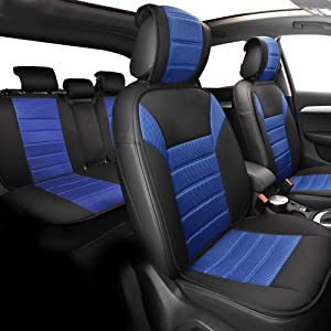 FH Group Universal Fit Complete Set Car Seat Cushion Pad - Cloth (Blue)