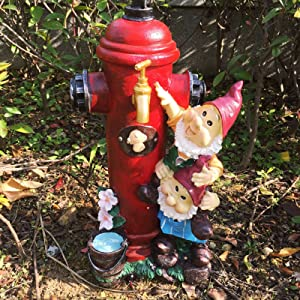 Posee Outdoor Lawn Decor Sculptural Dwarfs Fire Hydrant Tap Garden Large Statue