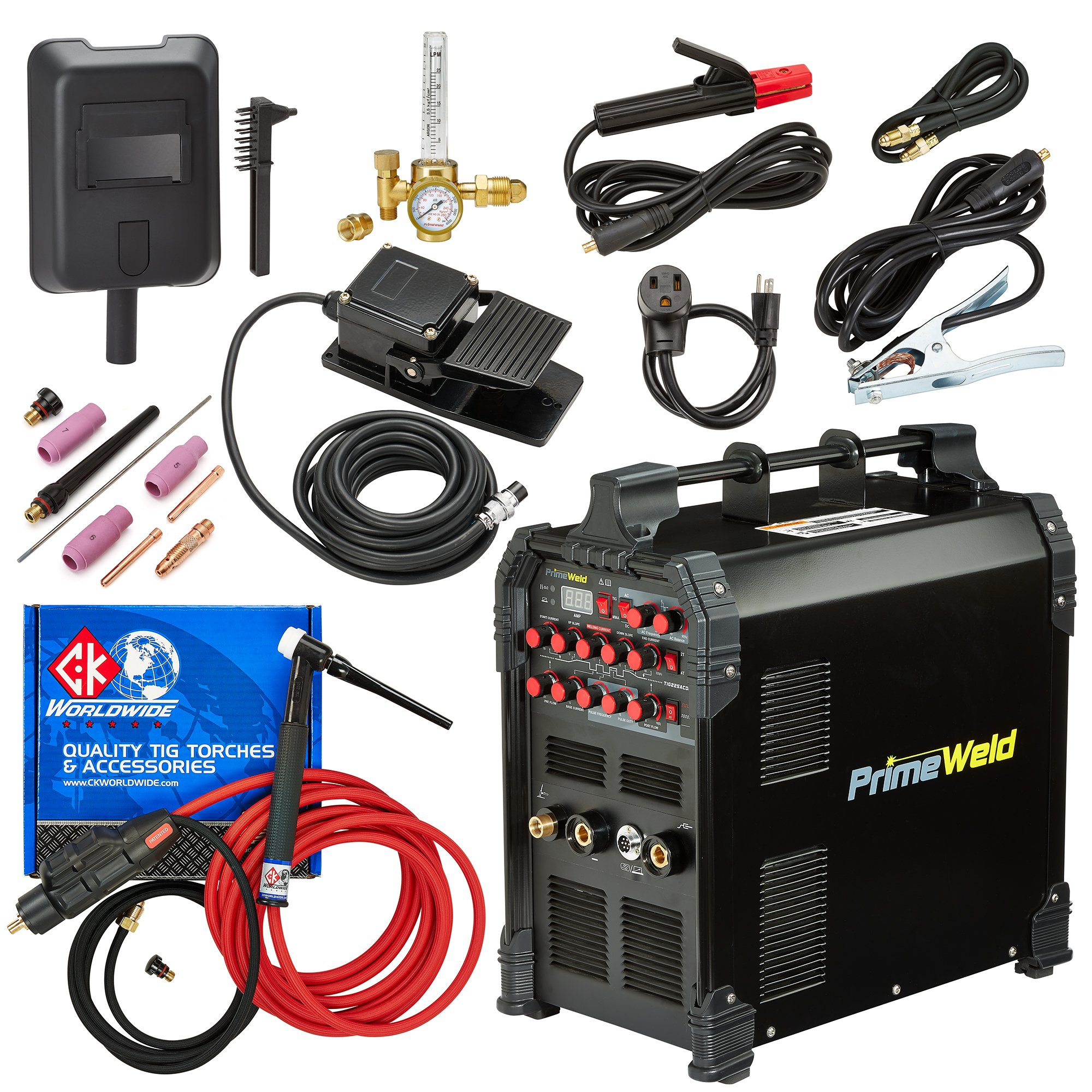 PRIMEWELD TIG225X 225 Amp IGBT AC DC Tig/Stick Welder with Pulse CK17 Flex Torch and Cable 3 Year Warranty by PRIMEWELD (Image #2)