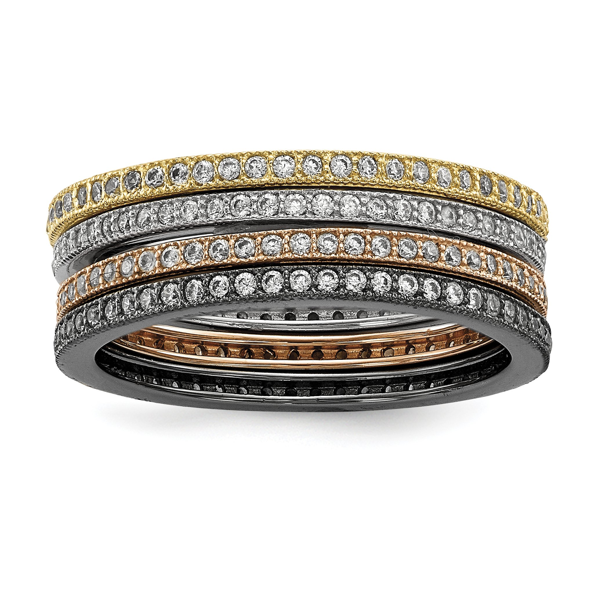 ICE CARATS 925 Sterling Silver Cubic Zirconia Cz 4 Piece Band Ring Size 8.00 Set Fine Jewelry Gift Set For Women Heart