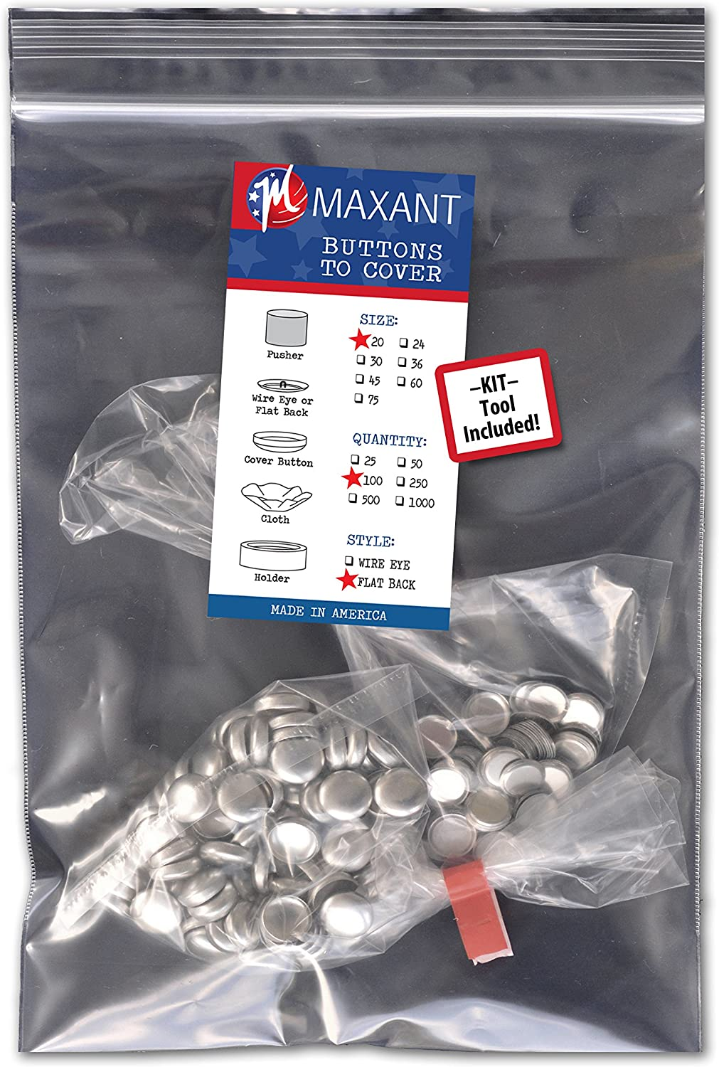 Made in USA 100 Buttons to Cover Self Cover Buttons with wire eyes size 20 with Tool
