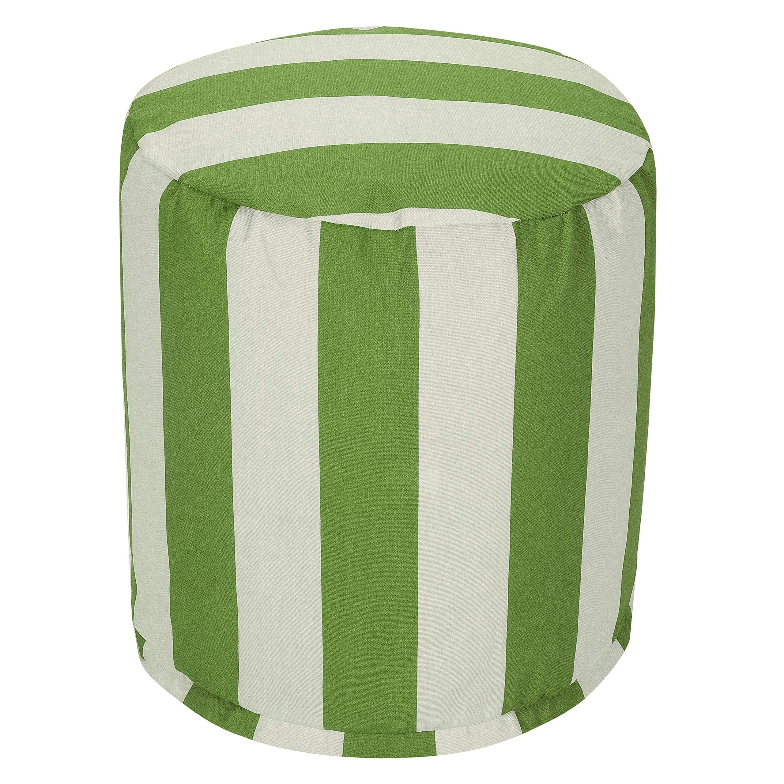 Majestic Home Goods Sage Vertical Stripe Indoor/Outdoor Bean Bag Ottoman Pouf 16'' L x 16'' W x 17'' H