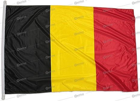Bandera de Bélgica 150x100 cm en tela náutico resistente al viento 115g/m², bandera belga 150x100 lavable, bandera Bélgica 150x100 alta calidad con cordón, doble costura perimetral y cinta de refuerzo: Amazon.es: Jardín