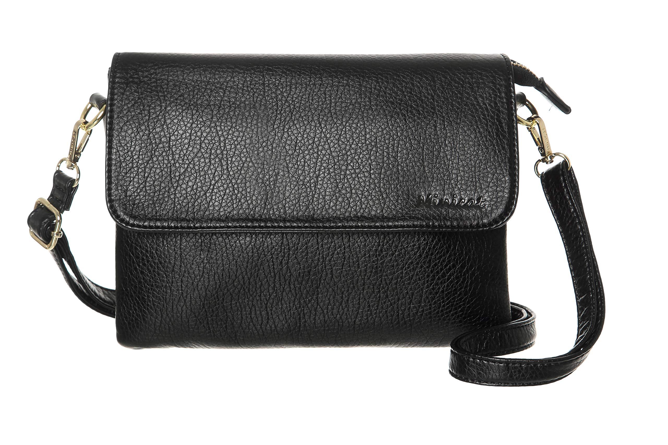 MINICAT Women RFID Blocking Small Crossbody Bags Credit Card Slots Cell Phone Purse Wallet(Black-Large)