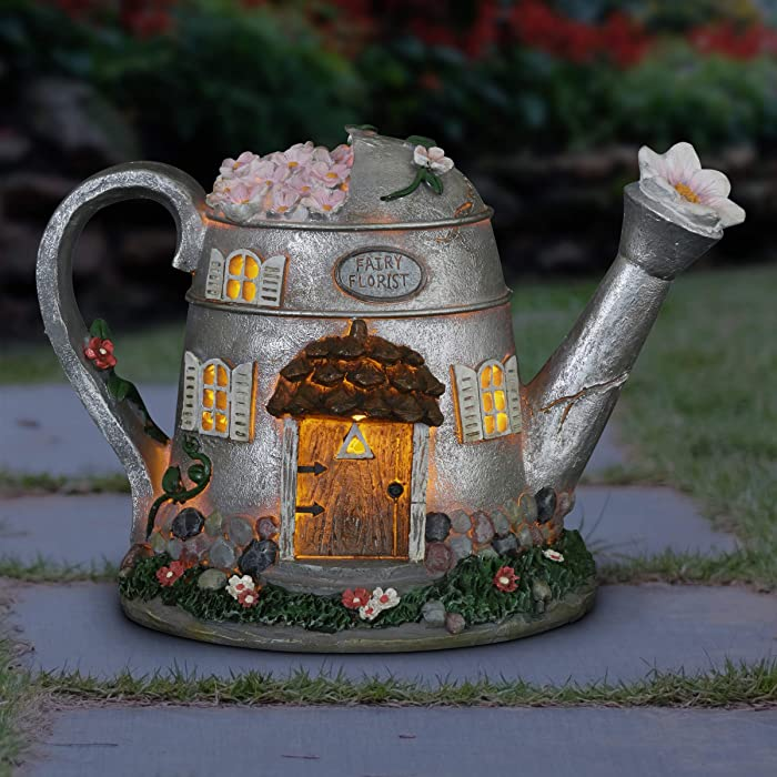 """Exhart Fairy House Statue Solar Silver Water Can - Mini Watering Can Fairy Cottage Resin Statue with Solar Decor Lights – Hand-Painted Water Can Resin Fairy Hut Best for a Fantasy Garden, 7"""""""