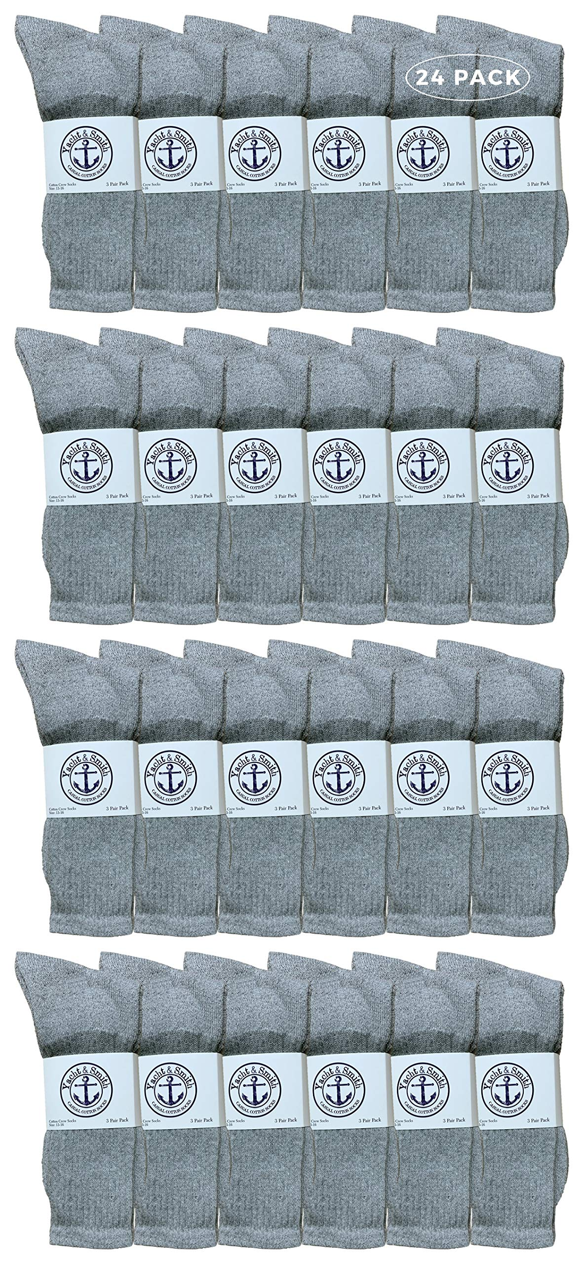 Yacht & Smith Wholesale Bulk Mens Crew Socks, Cotton Big And Tall Plus Size Socks Size 13-39 by Yacht & Smith