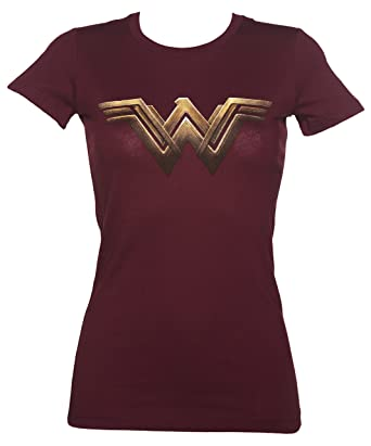 Womens Dark Red Wonder Woman Logo T Shirt,Red,Small